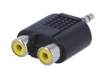 3.5mm uros plugi 2 x RCA naaras liittimeksi