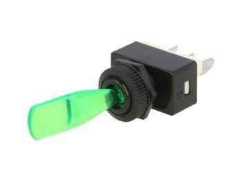 KYT12VIH Vipukatkaisin - vipukytkin vihreällä valolla 6A 12V DC